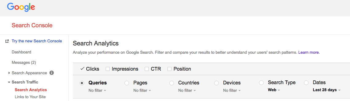 Search Analytics on Google Search Console