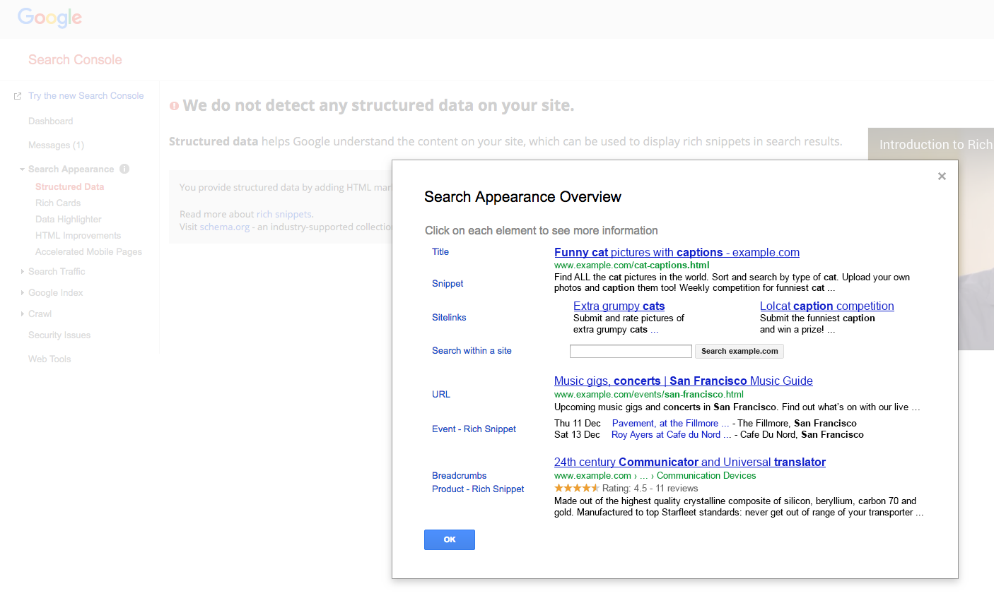 Search Appearance information on Google Search Console
